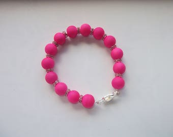Bracelet beads bright pink and rhinestones