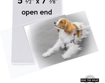 "100 - Open-End Crystal Clear Sleeves - 5-1/2"" x 7-5/8"" - 1.6 mil - No Flap or Adhesive - Archival - Fits  5 x 7 Photos & Cards"