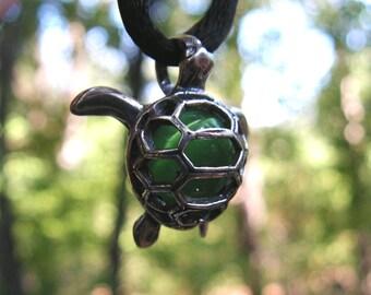 Sterling Silver Sea Turtle Pendant With Aventurine