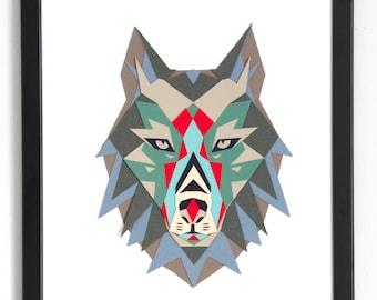Wolf Head Papercut PDF pattern   Woodland nursery decor   Paper wolf   Wall Artwork   DIY Gift   Paper Printables   Animal Nursery Decor