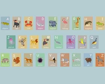 English Animal Alphabet Card Set, Nursery Wall Cards, Animal Alphabet Flash Cards, Alphabet Fine Art Prints, English Alphabet, ABC Cards