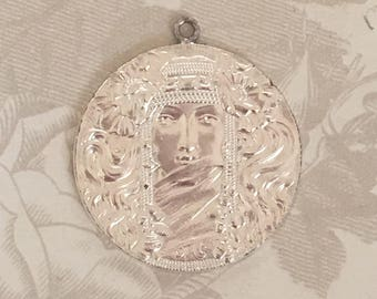 Beautiful French 1-Ring Sterling Plate Mystic Egyptian Pendant(1 pc)French Findings/Pendant Art Nouveau Woman/French Goddess Pendant[L5-1]