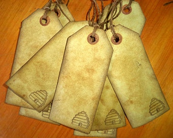 Antiqued Tea-Stained Tags. Set of 9.  Gift Tags, Jar Tags. Bee Hive Stamped.  Primitive Tags. Grungy tags.