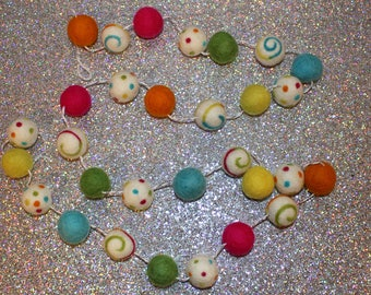 Party Ball Felted wool Ball Garland