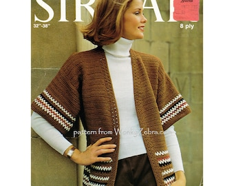 Ladies loose edge to edge crochet cardigan jacket Vintage Crochet Pattern PDF 813 from WonkyZebra