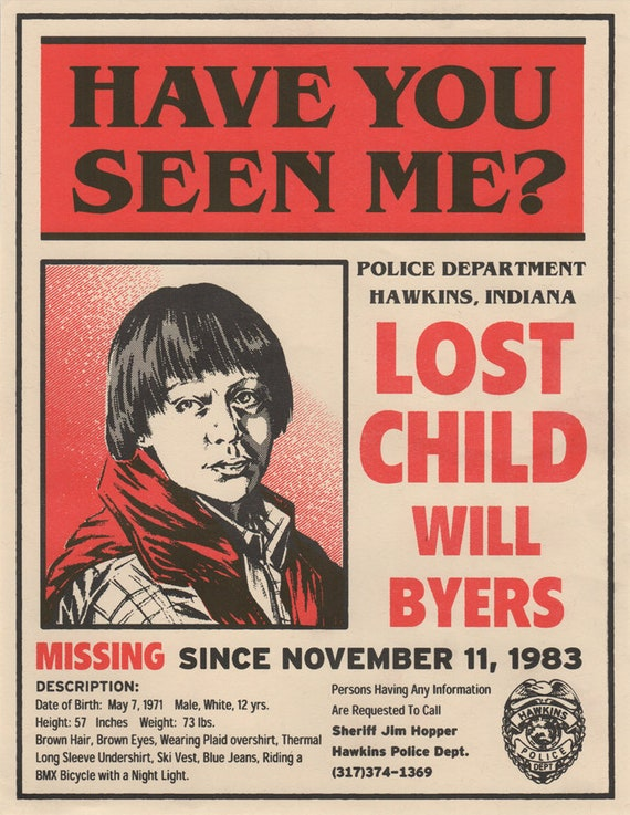 Netflix Stranger Things Will Byers Missing Poster Noah Schnapp Upside Down Eggo Ghostbusters Season 1 2 Print
