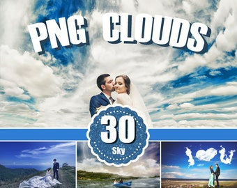 30 Sky Cloud Overlays, skies overlay, sky text, photography Overlays, Cloud Overlay, natural sky - Photoshop Overlays png file