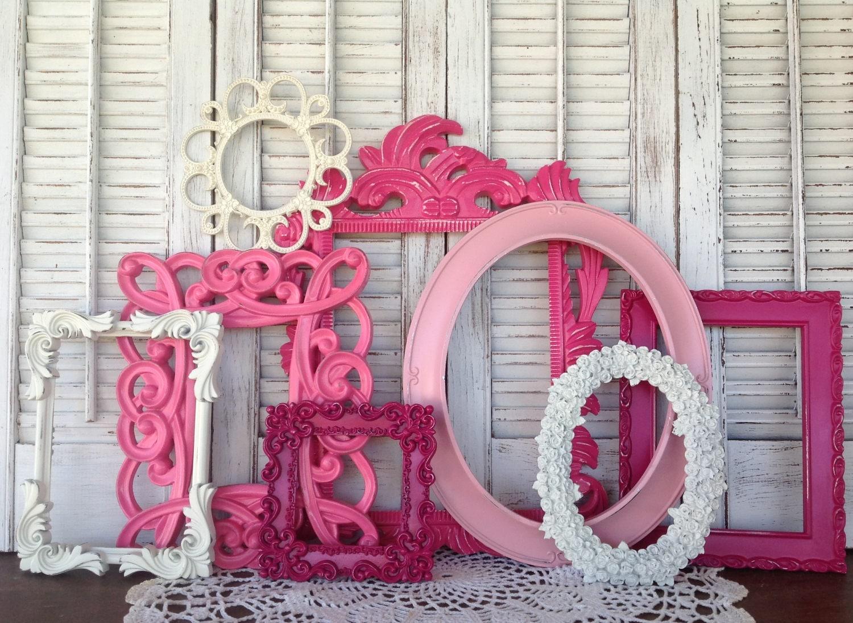 Victoriano blanco & Rosa vacío Marcos pared marco - Galería - 8 Pc ...