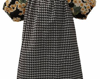 Houndstooth Flower Print Peasant Dress