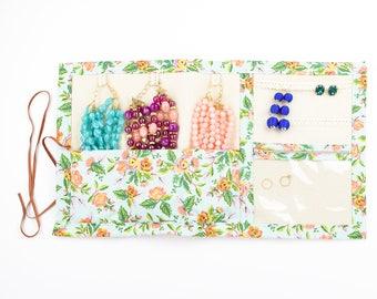 Large Jewelry Case Travel Roll and Organizer in Mint Jardin - Rifle Paper Co.