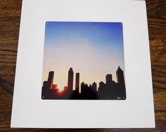 Atlanta Silhouette - Atlanta, Georgia - Metal Print Photo Mounted on Wood Frame