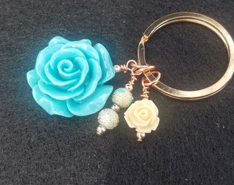 Turquoise rose Key Chain