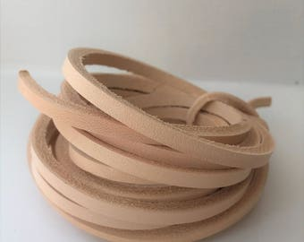 180 cm long 3,4,5,6,7,8,9 mm wide Natural Veg Tanned Leather Lace Flat Cord Strip 4 mm thick