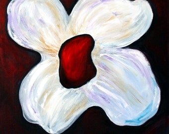 Oil Large Painting ORIGINAL Light the Darkness 30x30 Abstract Flower Modern ART on Canvas by Luiza Vizoli