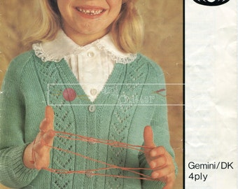 "Girl's Lace Cardigan 4ply DK 22-28"" Sirdar 4230 Knitting Pattern PDF instant download"