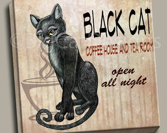 CAT ART PRINT. Black Hat Coffee House 10x10 Ready to Hang Canvas. Cat Art