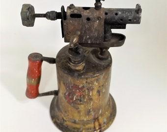 Vintage Clayton & Lambert Brass Blow Torch, made in Detroit c.1921, Steampunk Decor