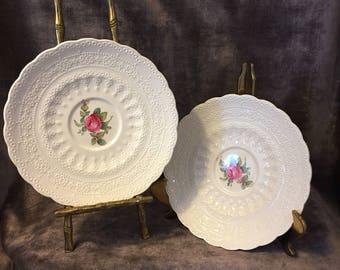 Set of 2 Spodes Billingsley Rose tea cup teacup saucers pink roses
