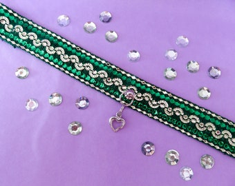 Bright Emerald and Gold shiny collar