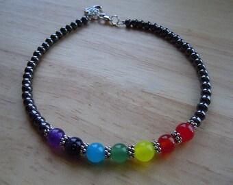 Chakra Anklet, Chakra Balancing, Energy Ankle Bracelet, Chakra Energy Stones, Zen Jewelry, Birthday Gift, Gemstone Jewelry, Chakra Jewelry