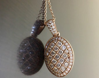 14K Rose Gold Diamond Necklace - Art Deco Diamond Rose Gold Necklace - Art Deco Rose Gold Diamond Pendant - 14K Diamond Art Deco Pendant