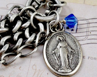 Mother Mary Miraculous Medal Bracelet - Multi Strand - Virgin Mary Mother of Jesus