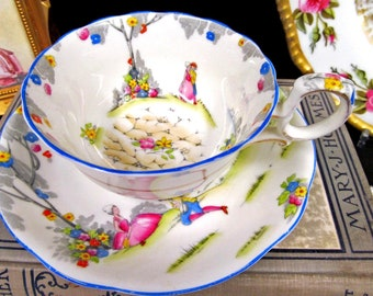 Star Paragon Tea Cup and Saucer Courting Couple Love Story Teacup Painted