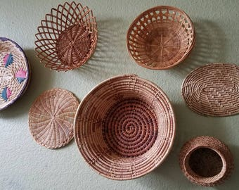 Wall Basket Collection Four Baskets and Two Trivets Art/ Wall Decor/ Boho Art/ Basket Collection/Basket Art/Southwestern
