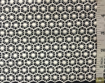"""Item: A1103N0, By the Yard, Modern Style Guipure Venice Lace Fabric, Honeycomb-like Embroidery, 42"""" Wide"""