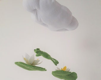 NEW - Leaping frog cloud mobile - Gender neutral nursery decoration