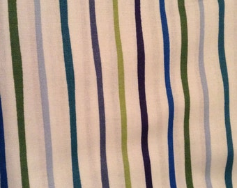 1 yard Striped Blue and Green Cotton Fabric, Boy Fabric, Clearance Fabric, Baby Boy Material,