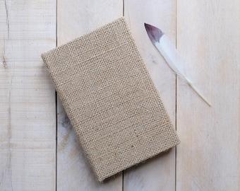 Natural Burlap Journal or Sketchbook, Writing Journal, Unlined Notebook, Blank Journal, Blank Diary, Blank Notebook
