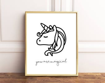 Unicorn wall art, Unicorn print, Unicorn nursery decor, You are magical like a unicorn, Unicorn wall decor, Modern nursery art, Nursery art