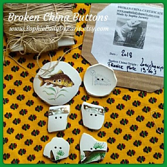 6 Antique Broken China Buttons French Porcelain Fish Longchamp  1960's Fashion Buttons #sophieladydeparis
