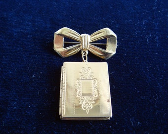 Vintage Book Locket and Bow Brooch or Pendant