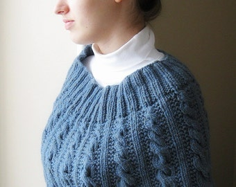 Knit cape or capelet, blue, wool, womens hand knit poncho, cable, elegant