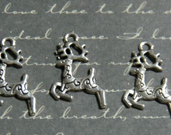3 charms silver leaping deer 14, 5x20mm
