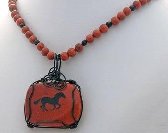 Horse Spirit Animal Goldstone Onyx Natural Stone Necklace