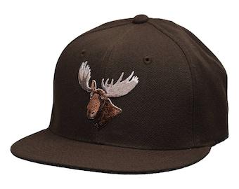 Moose Head Snapback Hat by LET'S BE IRIE - Brown