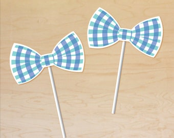 Bowtie Cupcake Toppers, Bow Tie Party Decor, Plaid Bow Tie, Printable Bow Tie Cupcake Toppers, Bowtie 1st Birthday, Bowtie Baby Shower Decor