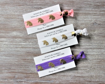 Unicorn Gold -Pink-White-Purple-Hair Tie-ALWAYS BE YOURSELF unless you can be a unicorn then always be a unicorn