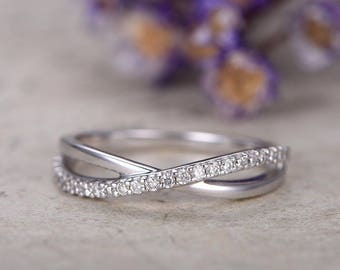 Diamond Wedding Bands women,half Eternity solid 14k white gold Engagement Ring,stacking matching band,,Milgrain bridal ring,loop curved