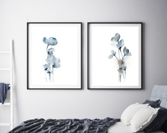 Floral art print set, blue grey abstract flowers, set of 2 fine art prints, botanical watercolor painting art, minimalist botanical art