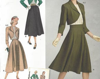 1940s Womens Vintage Tucked Blouse, Flared Skirt and Lined Bolero Simplicity Sewing Pattern 8462 Size 6 8 10 12 14 Bust 30 1/2 to 36 FF