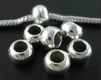 200 Pcs Antique Silver Large Hole Beads | 8 x 5 mm, 4.5 mm hole | European Style | Pandora Style | 0329