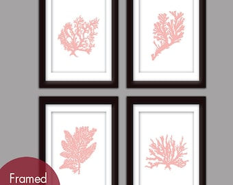 Underwater Sea Coral Collection (Series F) -Set of 4 - Art Prints (Featured in Pink Sand) Nautical Beach Prints