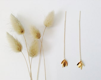 "Gold threader earrings in 14K Gold Filled, Gold Earrings ""Golden Wheat"", 14K Threader Earrings"