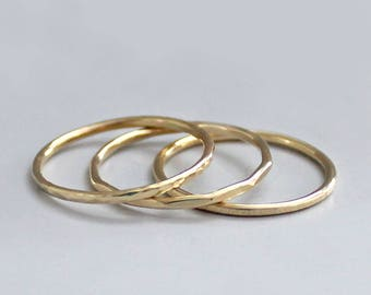 14K Gold Stacking Rings, Gold Hammered Ring Set, Solid Gold Rings, 14K Gold Bands, Solid Gold Stacking Ring Set
