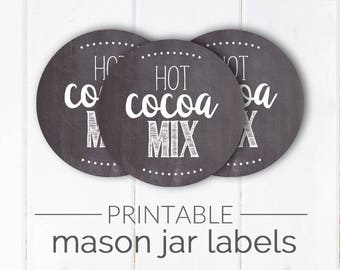 Hot Cocoa Mix Printable Mason Jar Label | Chalkboard