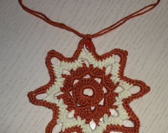 STAR BROWN AND YELLOW WITH SMALL BEAD MADE WITH WOOL CROCHET - NEW